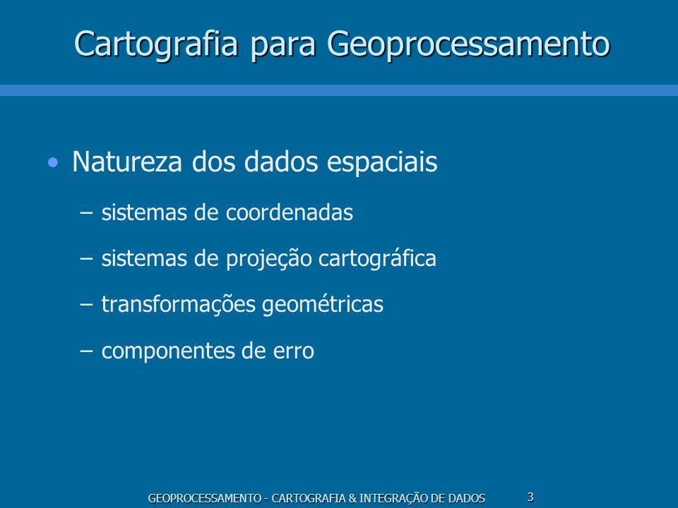 GEOPROCESSAMENTO - CARTOGRAFIA & INTEGRAÇÃO DE DADOS 4 Cartografia para Geoprocessamento Aspectos funcionais e de apresentação –modelagem cartográfica –integração de dados –integração com Sensoriamento Remoto –visualização –generalização cartográfica