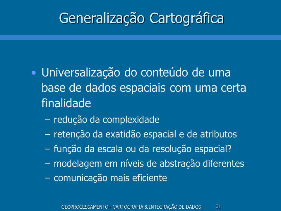 GEOPROCESSAMENTO - CARTOGRAFIA & INTEGRAÇÃO DE DADOS 31 Generalização Cartográfica Universalização do conteúdo de uma base de dados espaciais com uma