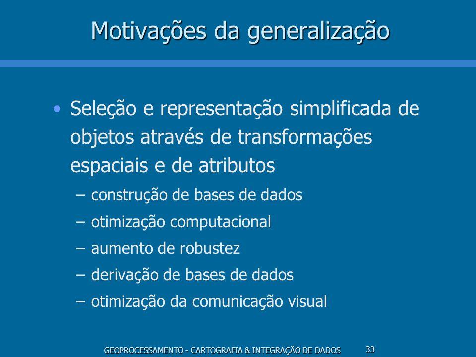 GEOPROCESSAMENTO - CARTOGRAFIA & INTEGRAÇÃO DE DADOS 33 Motivações da generalização Seleção e representação simplificada de objetos através de transfo