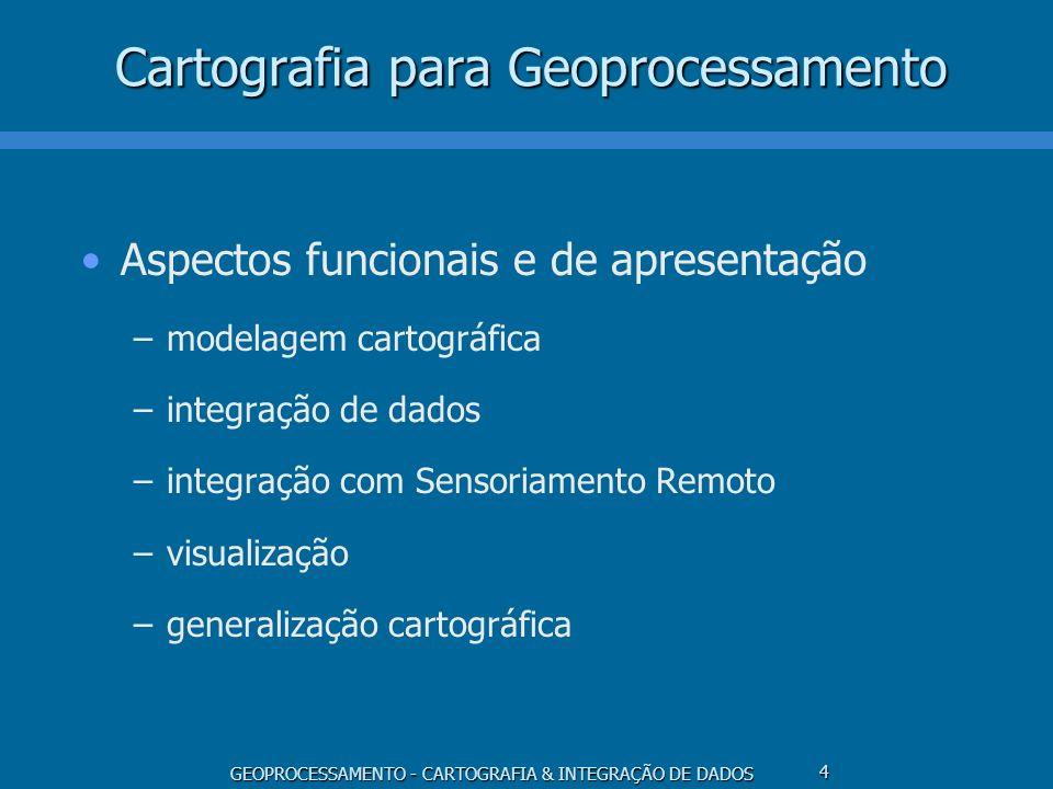 GEOPROCESSAMENTO - CARTOGRAFIA & INTEGRAÇÃO DE DADOS 4 Cartografia para Geoprocessamento Aspectos funcionais e de apresentação –modelagem cartográfica
