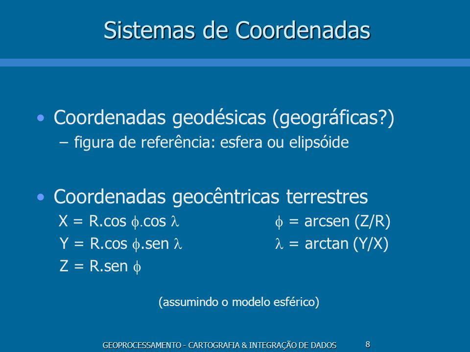 GEOPROCESSAMENTO - CARTOGRAFIA & INTEGRAÇÃO DE DADOS 9 Sistemas de Coordenadas Coordenadas polares –desenvolvimento de projeções cônicas Coordenadas cartesianas –coordenadas de projeção x = cos = arctg (y/x) y = sen = (x 2 + y 2 ) 0.5