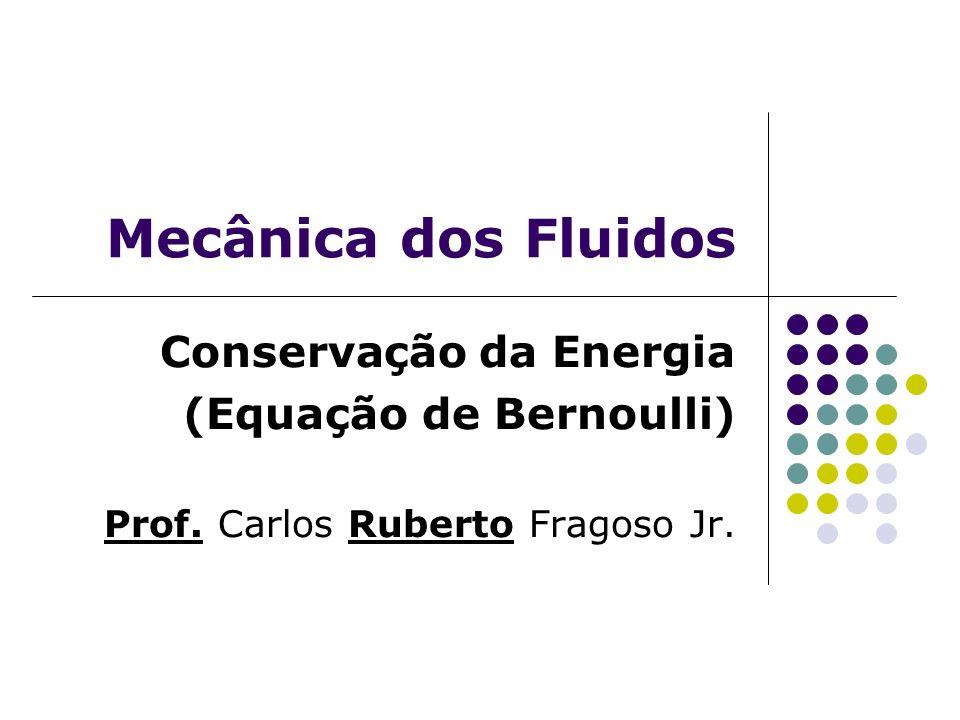Programa da aula Revisão Equação da Conservação da Energia Equação de Bernoulli; Exercícios.