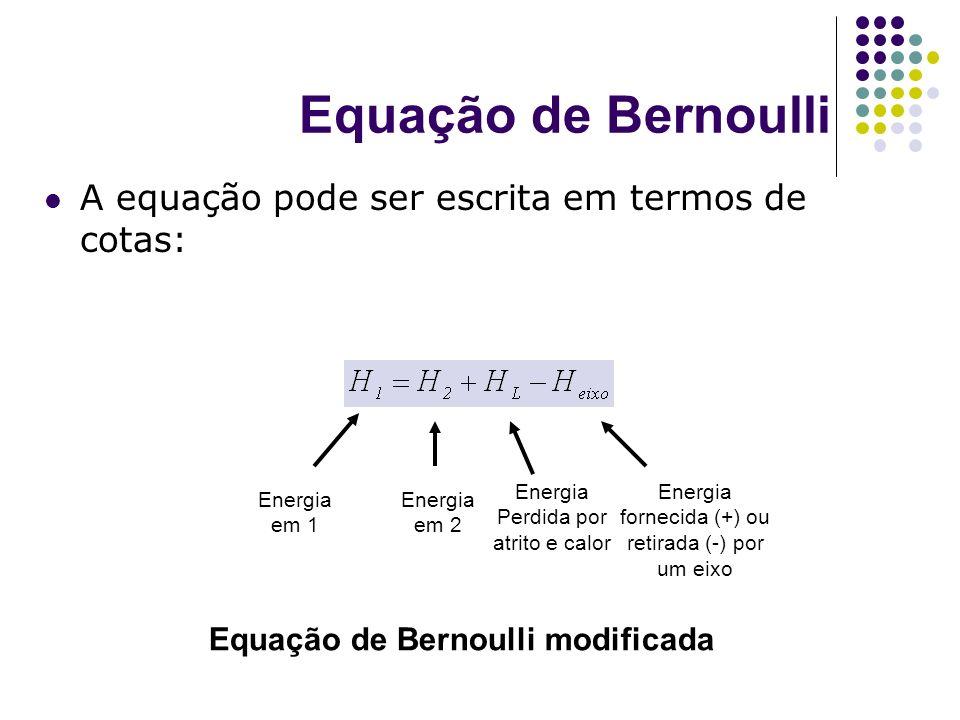 Equação de Bernoulli A equação pode ser escrita em termos de cotas: Energia em 1 Energia em 2 Energia Perdida por atrito e calor Energia fornecida (+)