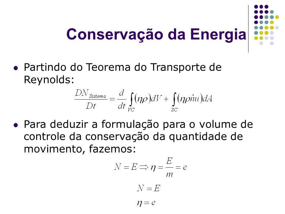 Conservação da Energia Partindo do Teorema do Transporte de Reynolds: Para deduzir a formulação para o volume de controle da conservação da quantidade