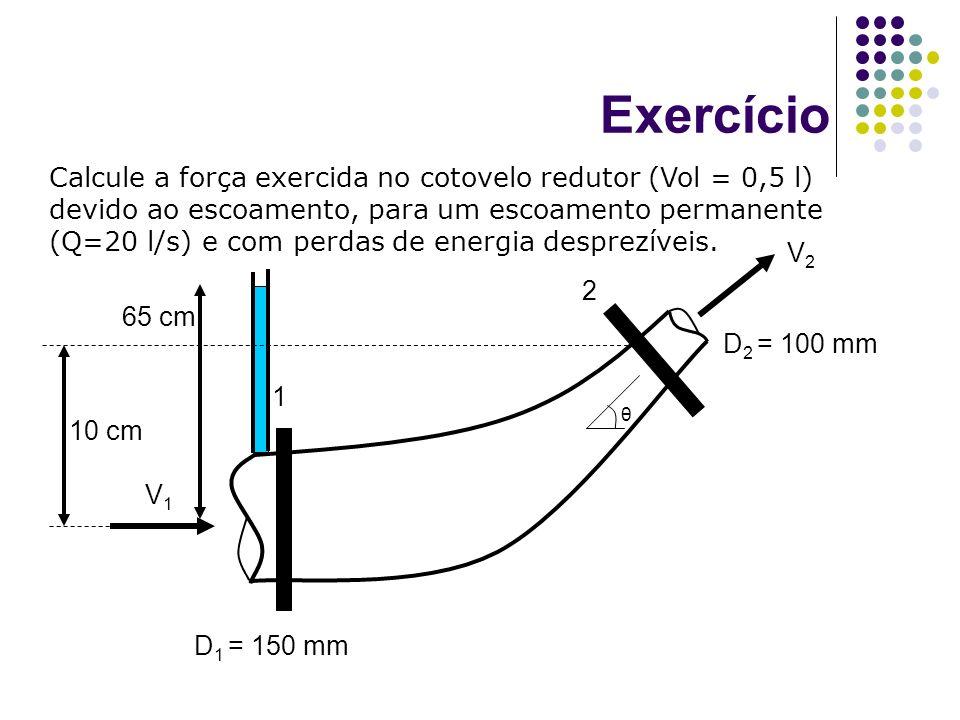 Calcule a força exercida no cotovelo redutor (Vol = 0,5 l) devido ao escoamento, para um escoamento permanente (Q=20 l/s) e com perdas de energia desp