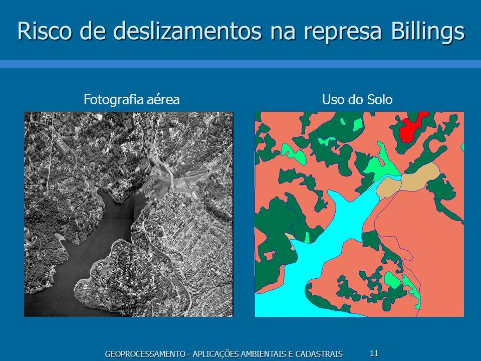 GEOPROCESSAMENTO - APLICAÇÕES AMBIENTAIS E CADASTRAIS 11 Risco de deslizamentos na represa Billings Fotografia aéreaUso do Solo