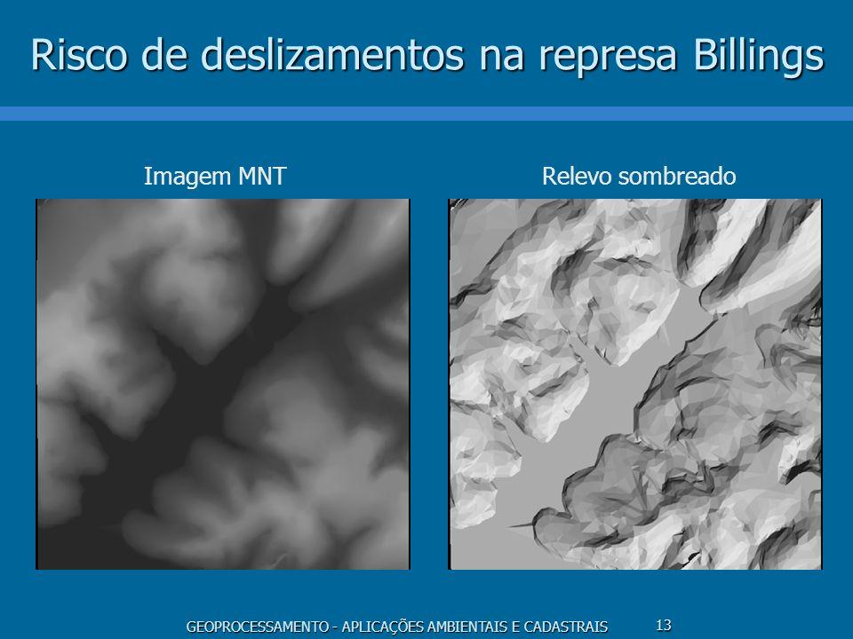 GEOPROCESSAMENTO - APLICAÇÕES AMBIENTAIS E CADASTRAIS 13 Risco de deslizamentos na represa Billings Imagem MNTRelevo sombreado