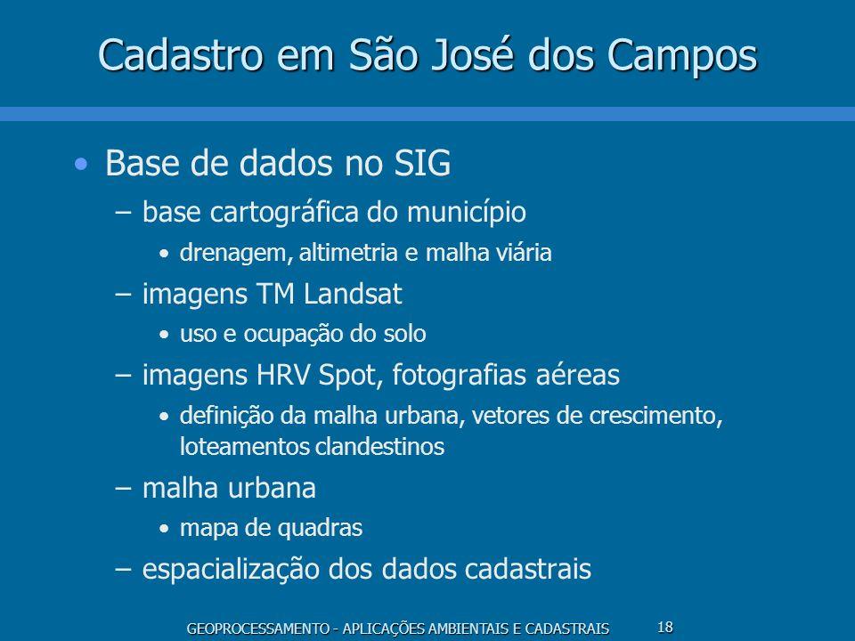 GEOPROCESSAMENTO - APLICAÇÕES AMBIENTAIS E CADASTRAIS 18 Cadastro em São José dos Campos Base de dados no SIG –base cartográfica do município drenagem