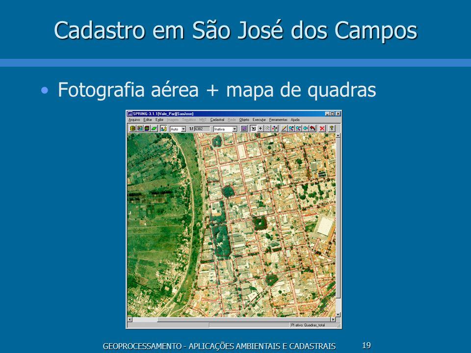 GEOPROCESSAMENTO - APLICAÇÕES AMBIENTAIS E CADASTRAIS 19 Cadastro em São José dos Campos Fotografia aérea + mapa de quadras