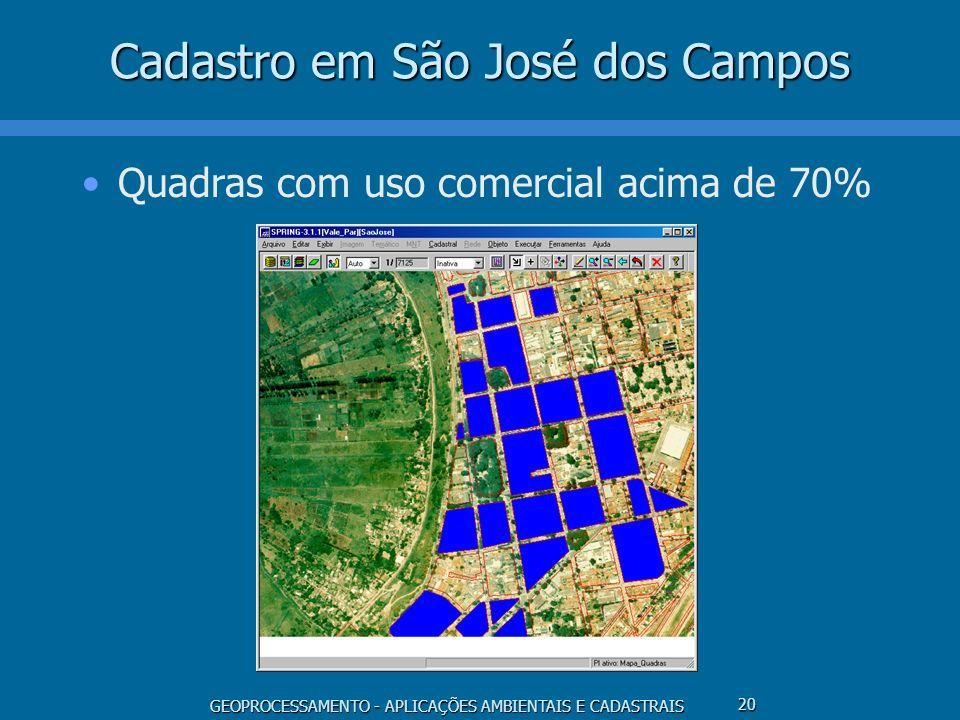 GEOPROCESSAMENTO - APLICAÇÕES AMBIENTAIS E CADASTRAIS 20 Cadastro em São José dos Campos Quadras com uso comercial acima de 70%