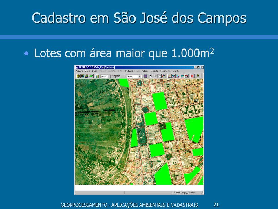 GEOPROCESSAMENTO - APLICAÇÕES AMBIENTAIS E CADASTRAIS 21 Cadastro em São José dos Campos Lotes com área maior que 1.000m 2