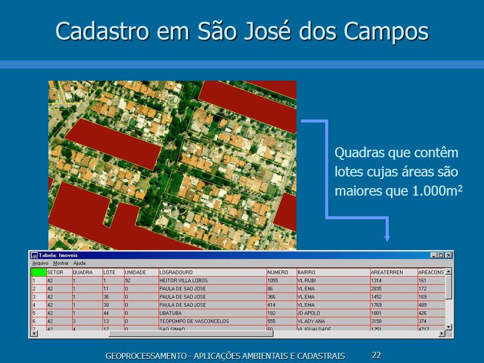 GEOPROCESSAMENTO - APLICAÇÕES AMBIENTAIS E CADASTRAIS 22 Cadastro em São José dos Campos Quadras que contêm lotes cujas áreas são maiores que 1.000m 2