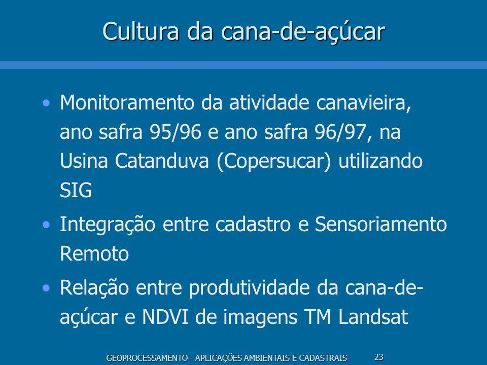 GEOPROCESSAMENTO - APLICAÇÕES AMBIENTAIS E CADASTRAIS 23 Cultura da cana-de-açúcar Monitoramento da atividade canavieira, ano safra 95/96 e ano safra
