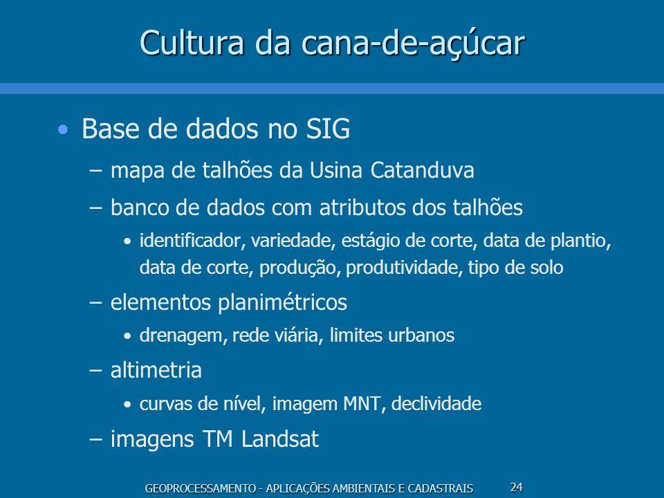 GEOPROCESSAMENTO - APLICAÇÕES AMBIENTAIS E CADASTRAIS 24 Cultura da cana-de-açúcar Base de dados no SIG –mapa de talhões da Usina Catanduva –banco de