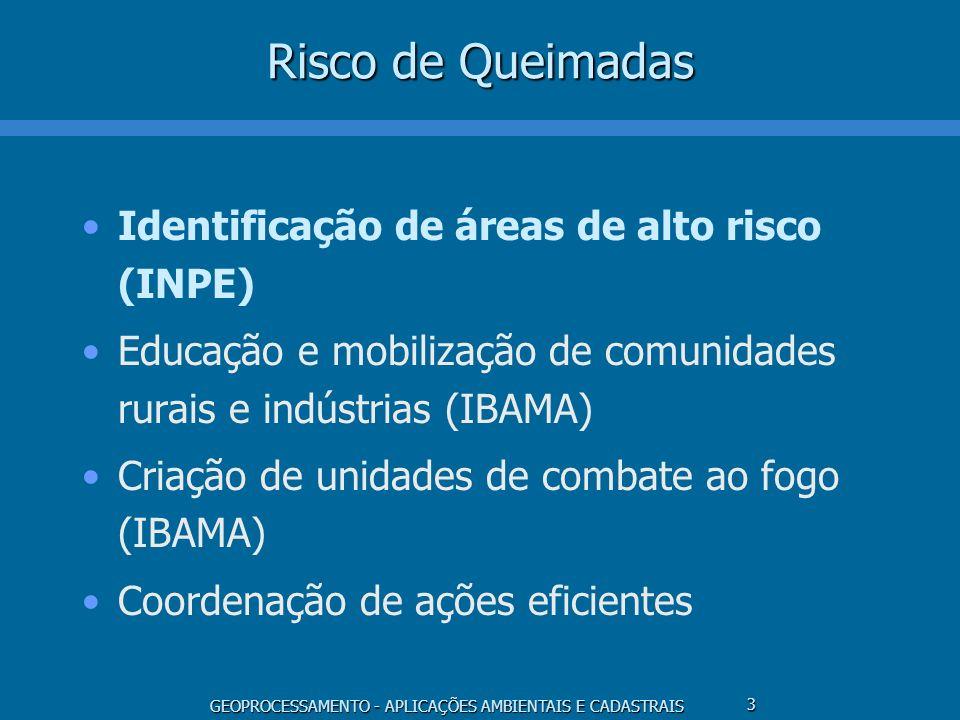 GEOPROCESSAMENTO - APLICAÇÕES AMBIENTAIS E CADASTRAIS 3 Risco de Queimadas Identificação de áreas de alto risco (INPE) Educação e mobilização de comun