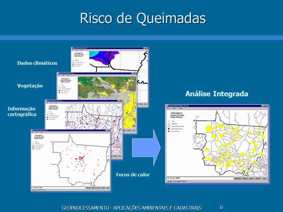 GEOPROCESSAMENTO - APLICAÇÕES AMBIENTAIS E CADASTRAIS 6 Risco de Queimadas Análise Integrada Dados climáticos Vegetação Informação cartográfica Focos