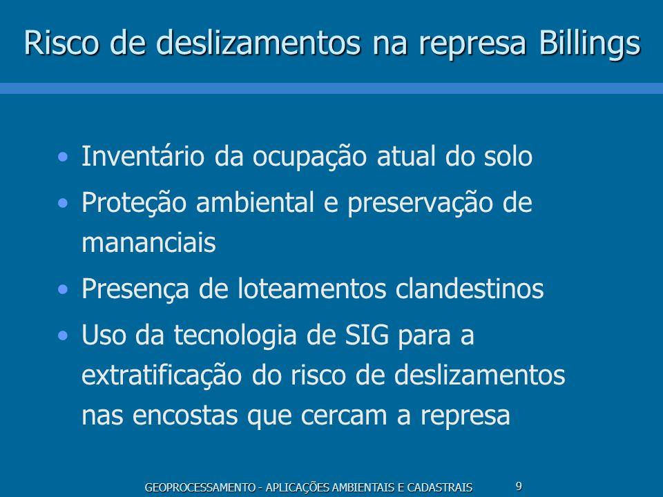 GEOPROCESSAMENTO - APLICAÇÕES AMBIENTAIS E CADASTRAIS 9 Risco de deslizamentos na represa Billings Inventário da ocupação atual do solo Proteção ambie