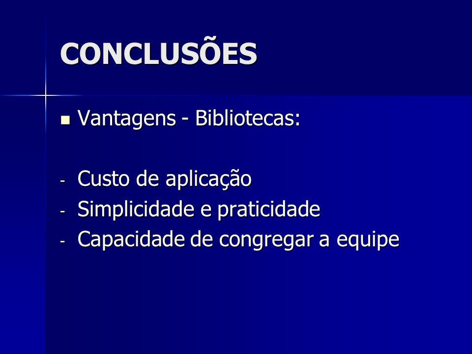 CONCLUSÕES Vantagens - Bibliotecas: Vantagens - Bibliotecas: - Custo de aplicação - Simplicidade e praticidade - Capacidade de congregar a equipe