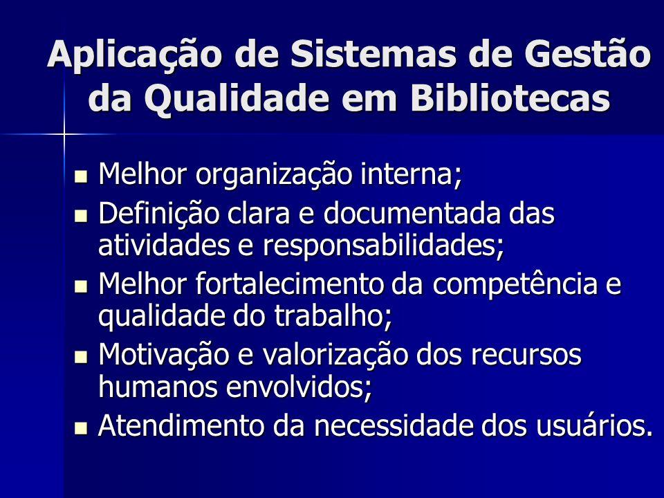 Aplicação de Sistemas de Gestão da Qualidade em Bibliotecas Melhor organização interna; Melhor organização interna; Definição clara e documentada das