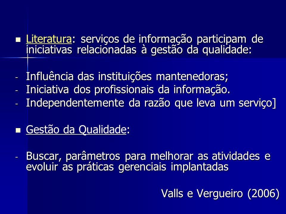 : serviços de informação participam de iniciativas relacionadas à gestão da qualidade: Literatura: serviços de informação participam de iniciativas re