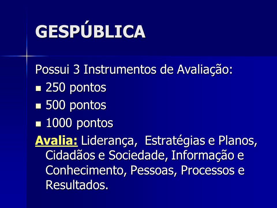 GESPÚBLICA Possui 3 Instrumentos de Avaliação: 250 pontos 250 pontos 500 pontos 500 pontos 1000 pontos 1000 pontos Liderança, Estratégias e Planos, Ci