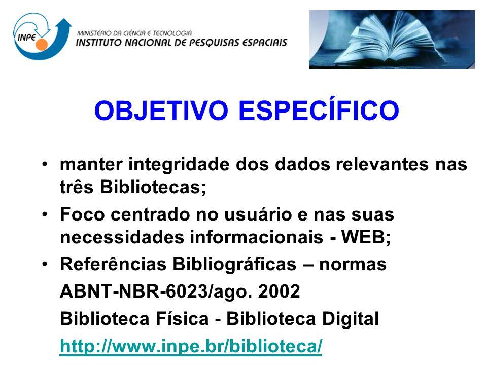 OBJETIVO ESPECÍFICO manter integridade dos dados relevantes nas três Bibliotecas; Foco centrado no usuário e nas suas necessidades informacionais - WE