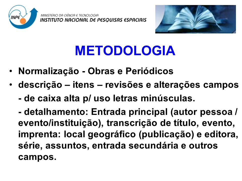METODOLOGIA Normalização - Obras e Periódicos descrição – itens – revisões e alterações campos - de caixa alta p/ uso letras minúsculas. - detalhament