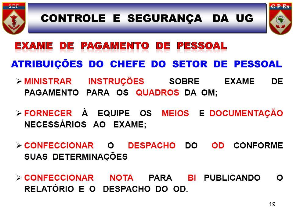 ATRIBUIÇÕES DO CHEFE DO SETOR DE PESSOAL MINISTRAR INSTRUÇÕES SOBRE EXAME DE PAGAMENTO PARA OS QUADROS DA OM; FORNECER À EQUIPE OS MEIOS E DOCUMENTAÇÃO NECESSÁRIOS AO EXAME; CONFECCIONAR O DESPACHO DO OD CONFORME SUAS DETERMINAÇÕES CONFECCIONAR NOTA PARA BI PUBLICANDO O RELATÓRIO E O DESPACHO DO OD.