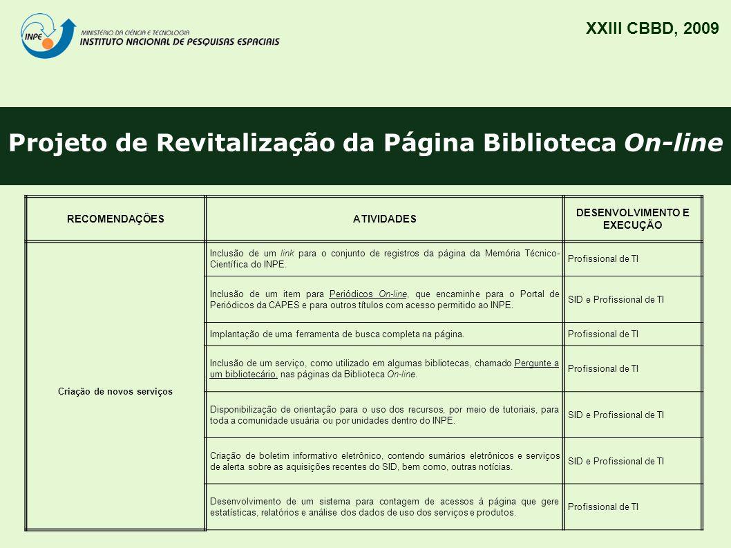 Projeto de Revitalização da Página Biblioteca On-line XXIII CBBD, 2009 RECOMENDAÇÕESATIVIDADES DESENVOLVIMENTO E EXECUÇÃO Criação de novos serviços In
