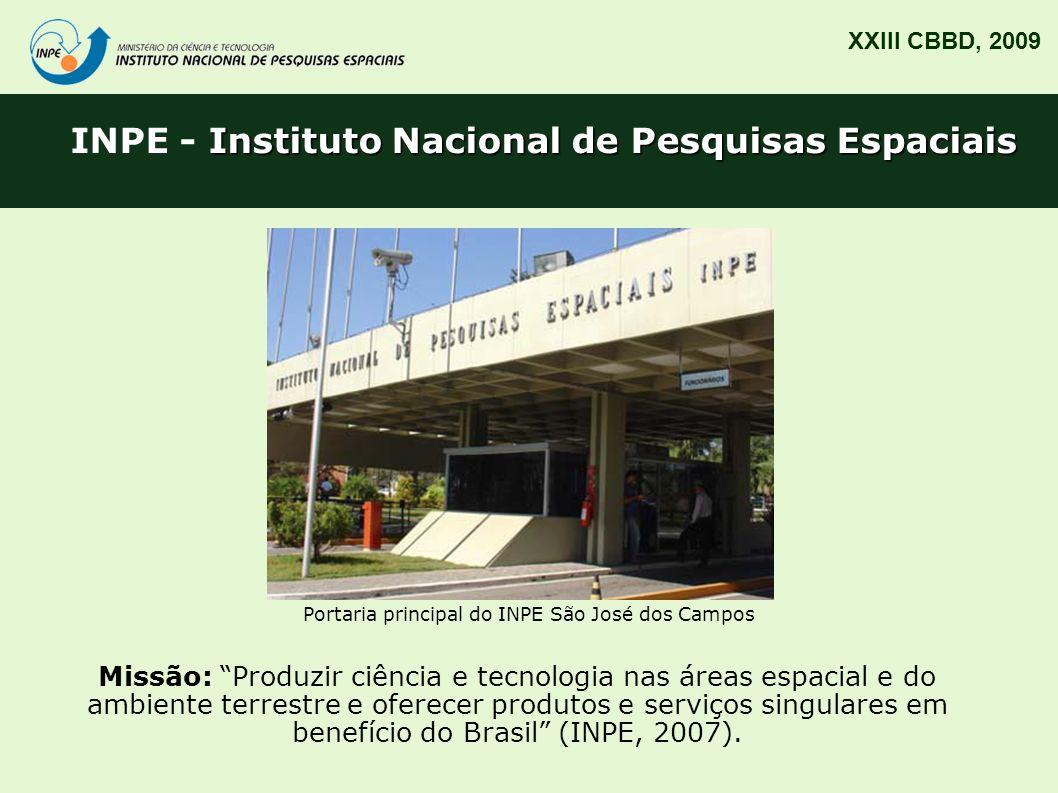 Serviço de Informação e Documentação (SID) XXIII CBBD, 2009 Missão: Promover e tornar disponível o acesso à informação técnico-científica nas áreas de atuação do INPE em ambiente virtual, contribuindo para a geração do conhecimento (INPE.SID, 2008).