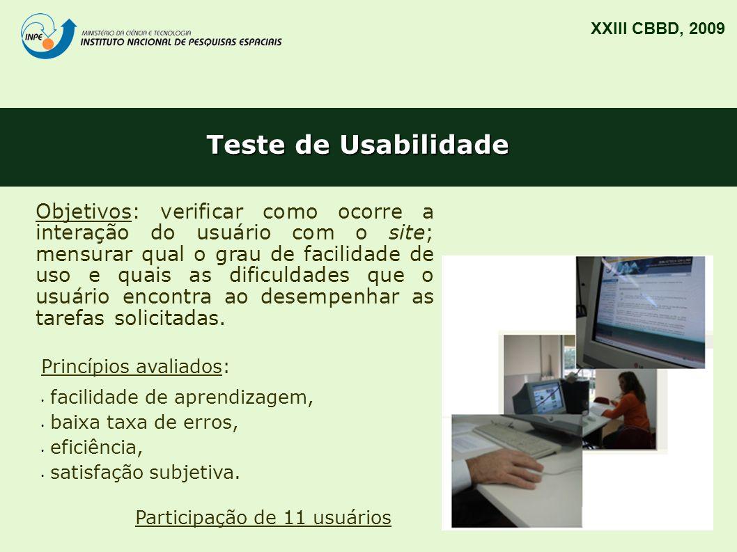 Teste de Usabilidade XXIII CBBD, 2009 Objetivos: verificar como ocorre a interação do usuário com o site; mensurar qual o grau de facilidade de uso e