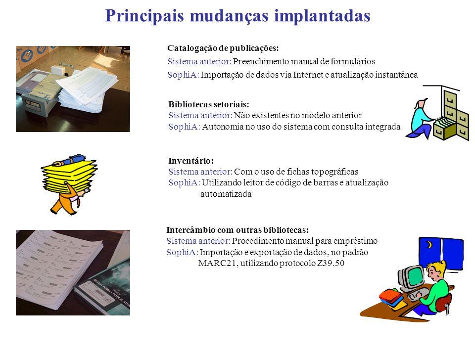 Principais mudanças implantadas Catalogação de publicações: Sistema anterior: Preenchimento manual de formulários SophiA: Importação de dados via Inte