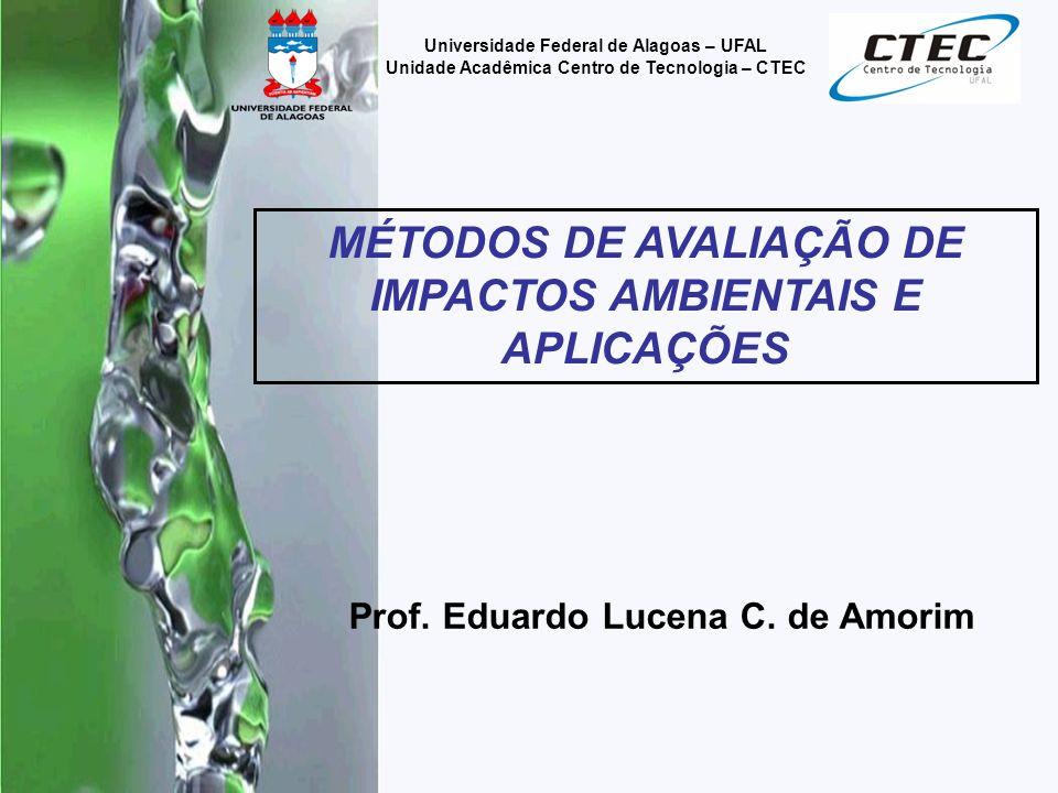 Prof. Eduardo Lucena C. de Amorim Universidade Federal de Alagoas – UFAL Unidade Acadêmica Centro de Tecnologia – CTEC MÉTODOS DE AVALIAÇÃO DE IMPACTO