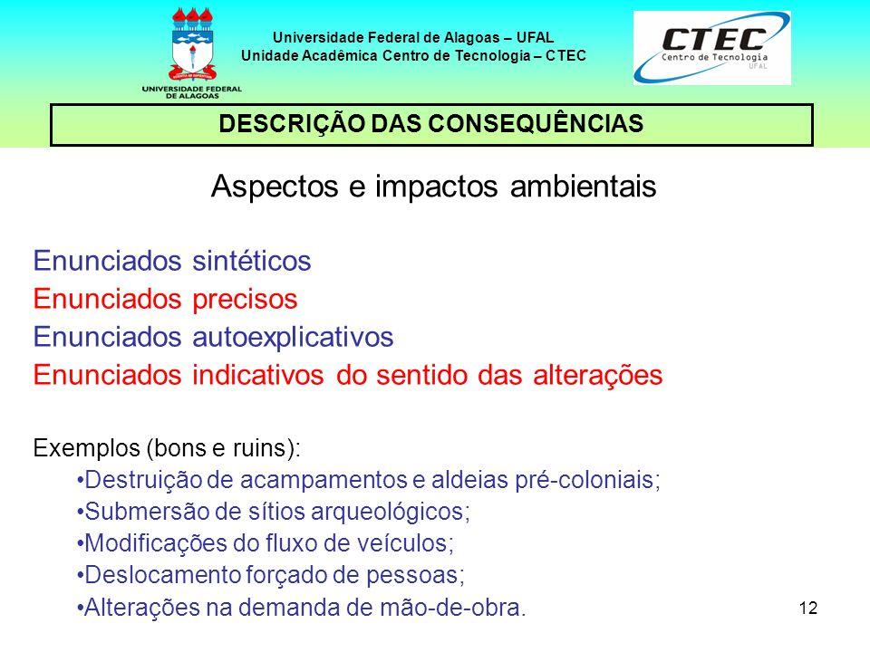 12 DESCRIÇÃO DAS CONSEQUÊNCIAS Universidade Federal de Alagoas – UFAL Unidade Acadêmica Centro de Tecnologia – CTEC Aspectos e impactos ambientais Enu