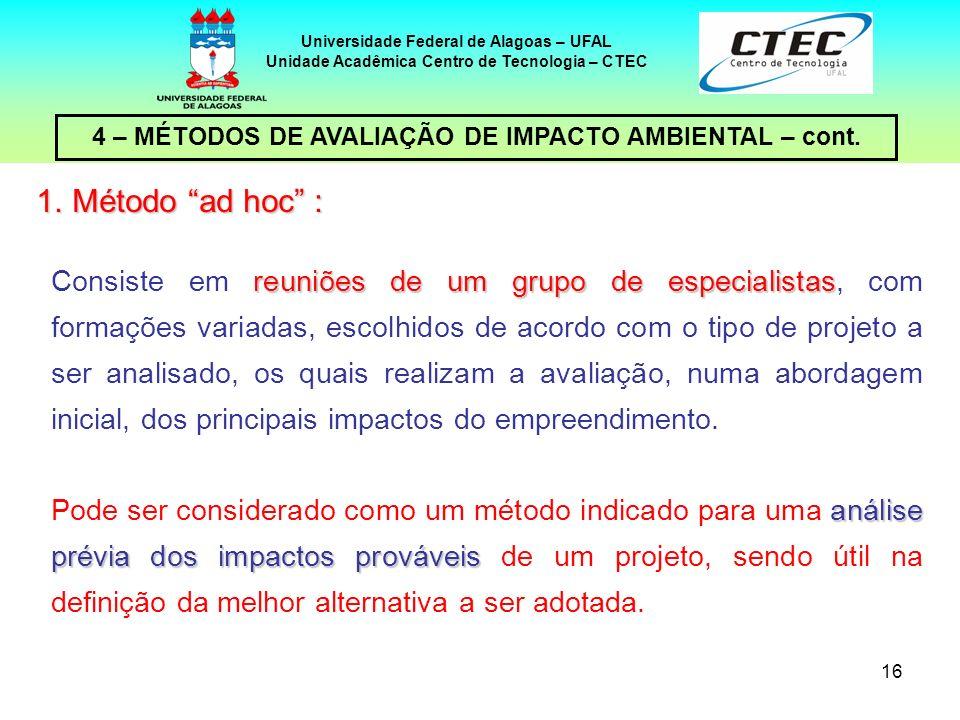 16 4 – MÉTODOS DE AVALIAÇÃO DE IMPACTO AMBIENTAL – cont. Universidade Federal de Alagoas – UFAL Unidade Acadêmica Centro de Tecnologia – CTEC reuniões