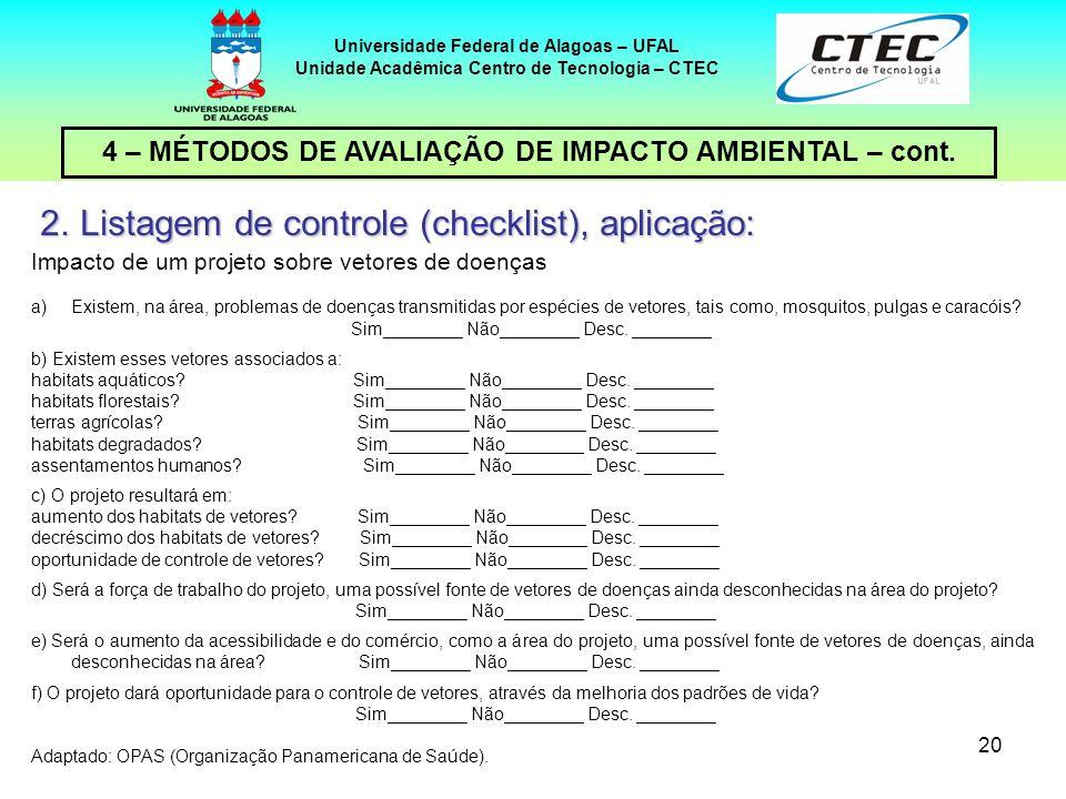 20 4 – MÉTODOS DE AVALIAÇÃO DE IMPACTO AMBIENTAL – cont. Universidade Federal de Alagoas – UFAL Unidade Acadêmica Centro de Tecnologia – CTEC 2.Listag