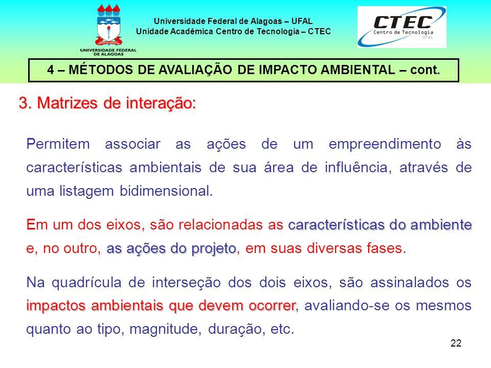 22 4 – MÉTODOS DE AVALIAÇÃO DE IMPACTO AMBIENTAL – cont. Universidade Federal de Alagoas – UFAL Unidade Acadêmica Centro de Tecnologia – CTEC Permitem