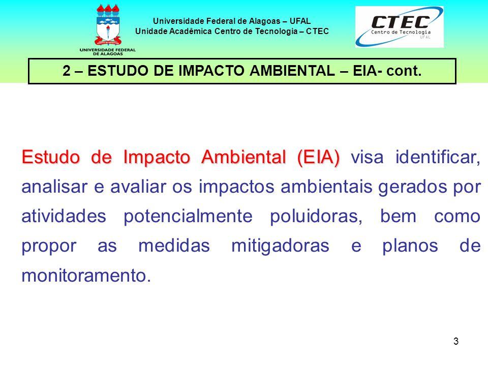 3 2 – ESTUDO DE IMPACTO AMBIENTAL – EIA- cont. Universidade Federal de Alagoas – UFAL Unidade Acadêmica Centro de Tecnologia – CTEC Estudo de Impacto