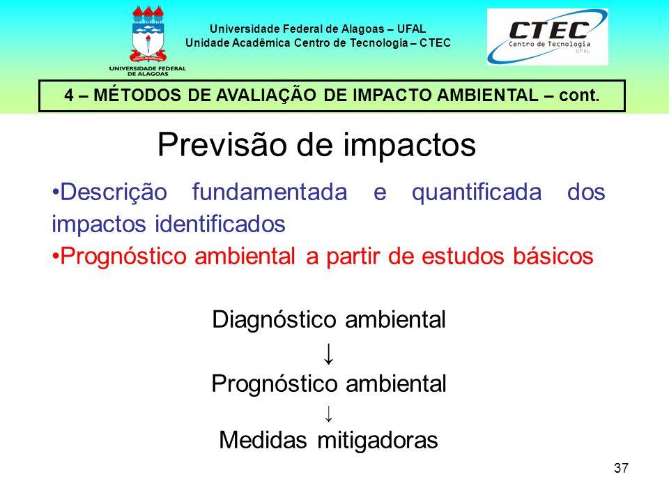 37 4 – MÉTODOS DE AVALIAÇÃO DE IMPACTO AMBIENTAL – cont. Universidade Federal de Alagoas – UFAL Unidade Acadêmica Centro de Tecnologia – CTEC Previsão