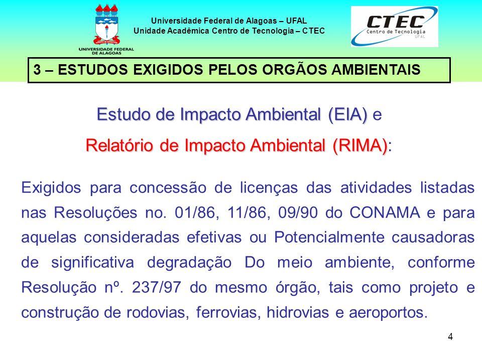 4 3 – ESTUDOS EXIGIDOS PELOS ORGÃOS AMBIENTAIS Universidade Federal de Alagoas – UFAL Unidade Acadêmica Centro de Tecnologia – CTEC Estudo de Impacto