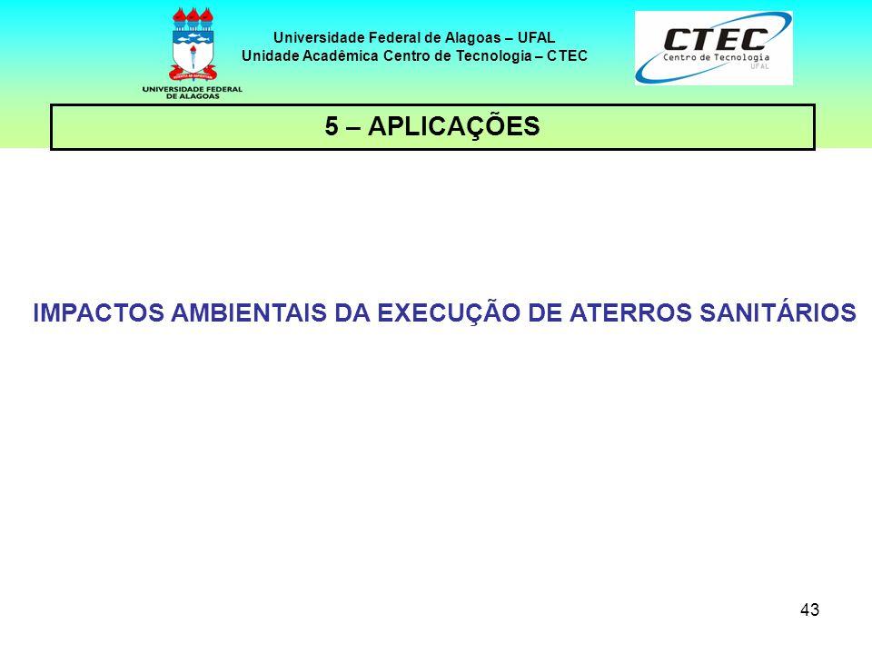 43 Universidade Federal de Alagoas – UFAL Unidade Acadêmica Centro de Tecnologia – CTEC 5 – APLICAÇÕES IMPACTOS AMBIENTAIS DA EXECUÇÃO DE ATERROS SANI
