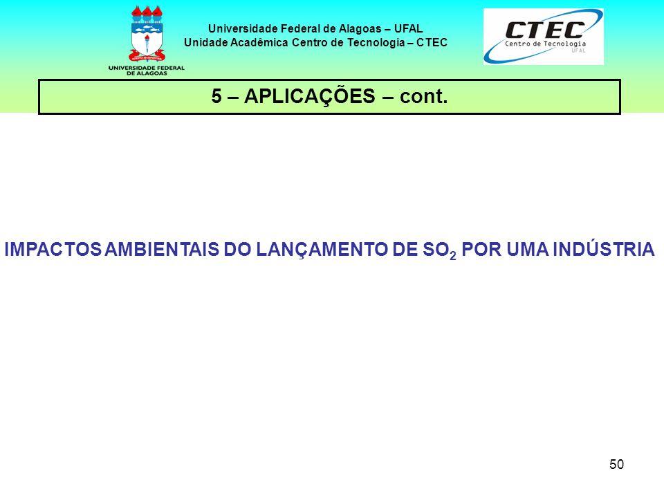 50 Universidade Federal de Alagoas – UFAL Unidade Acadêmica Centro de Tecnologia – CTEC IMPACTOS AMBIENTAIS DO LANÇAMENTO DE SO 2 POR UMA INDÚSTRIA 5