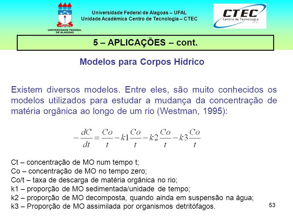 53 Universidade Federal de Alagoas – UFAL Unidade Acadêmica Centro de Tecnologia – CTEC 5 – APLICAÇÕES – cont. Modelos para Corpos Hídrico Existem div