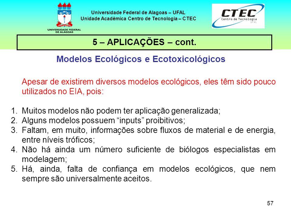 57 Universidade Federal de Alagoas – UFAL Unidade Acadêmica Centro de Tecnologia – CTEC 5 – APLICAÇÕES – cont. Modelos Ecológicos e Ecotoxicológicos A