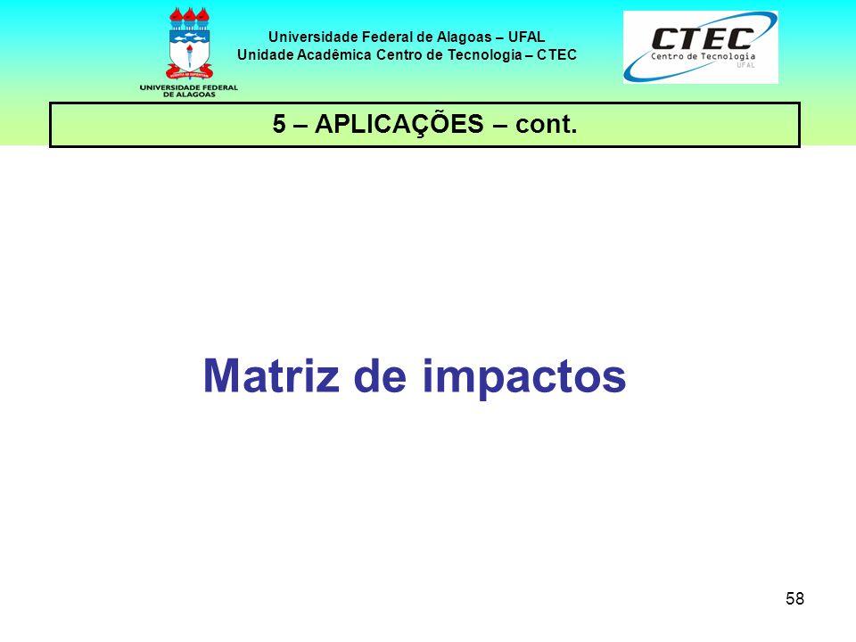 58 Universidade Federal de Alagoas – UFAL Unidade Acadêmica Centro de Tecnologia – CTEC 5 – APLICAÇÕES – cont. Matriz de impactos