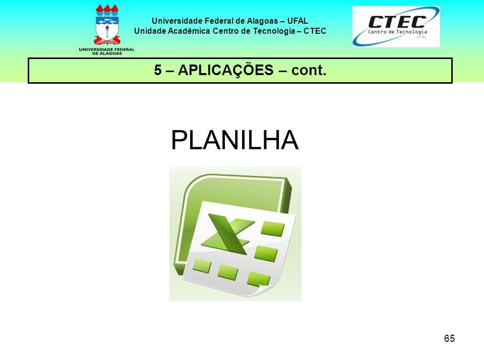 65 Universidade Federal de Alagoas – UFAL Unidade Acadêmica Centro de Tecnologia – CTEC 5 – APLICAÇÕES – cont. PLANILHA