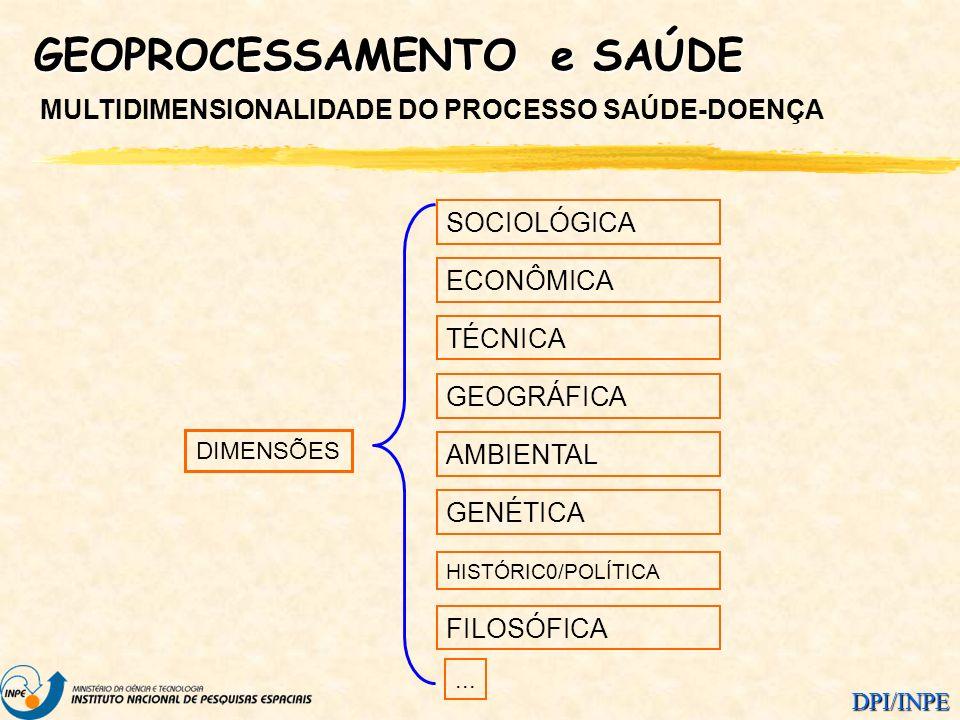 DPI/INPE GEOPROCESSAMENTO e SAÚDE MULTIDIMENSIONALIDADE DO PROCESSO SAÚDE-DOENÇA FILOSÓFICA AMBIENTAL GENÉTICA TÉCNICA ECONÔMICA GEOGRÁFICA HISTÓRIC0/