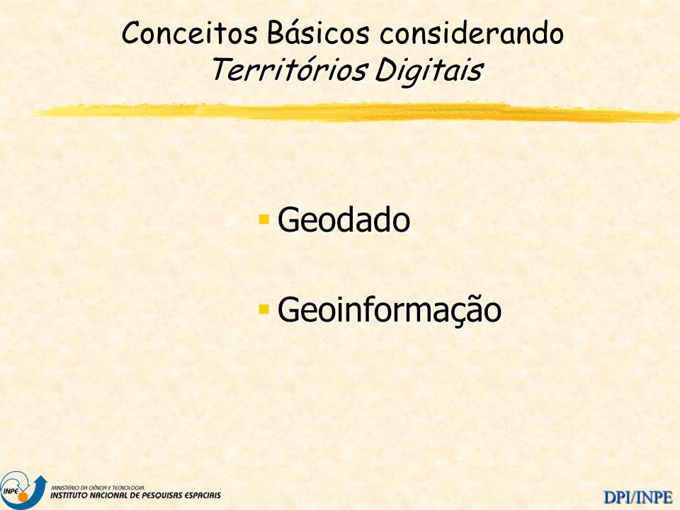 DPI/INPE Territórios Digitais Conceitos Básicos considerando Territórios Digitais Geodado Geodado Geoinformação Geoinformação