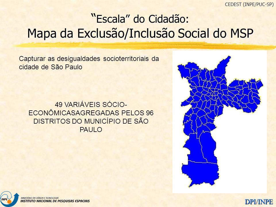 DPI/INPE Capturar as desigualdades socioterritoriais da cidade de São Paulo 49 VARIÁVEIS SÓCIO- ECONÔMICASAGREGADAS PELOS 96 DISTRITOS DO MUNICÍPIO DE