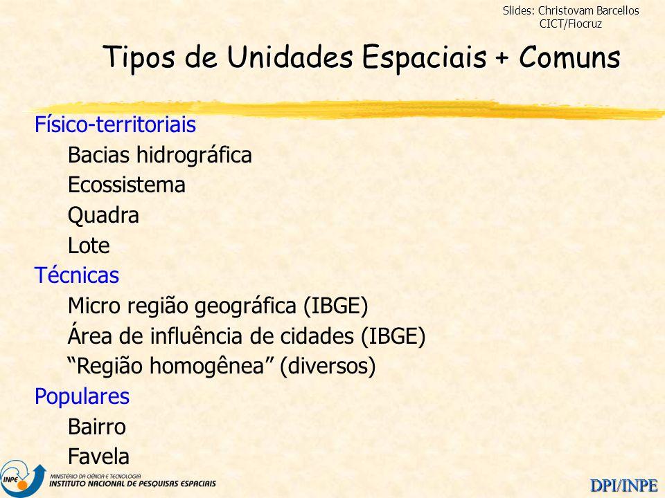 DPI/INPE Tipos de Unidades Espaciais + Comuns Físico-territoriais Bacias hidrográfica Ecossistema Quadra Lote Técnicas Micro região geográfica (IBGE)